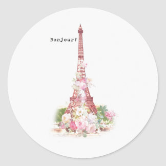 Vintage girly pink flowers Paris Eiffel Tower Classic Round Sticker