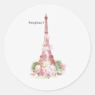 Vintage girly pink flowers Paris Eiffel Tower Classic Round Sticker