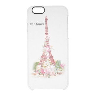Vintage girly pink flowers Paris Eiffel Tower Clear iPhone 6/6S Case