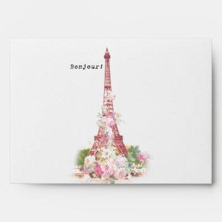 Vintage girly pink flowers Paris Eiffel Tower Envelope