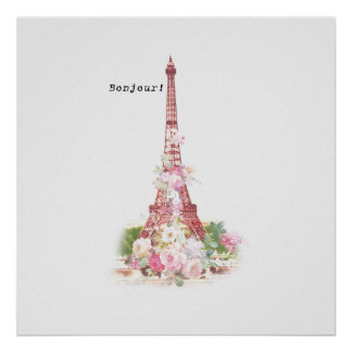 Vintage girly pink flowers Paris Eiffel Tower Poster