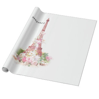 Vintage girly pink flowers Paris Eiffel Tower Wrapping Paper