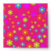 Vintage girly pink green floral pattern envelope