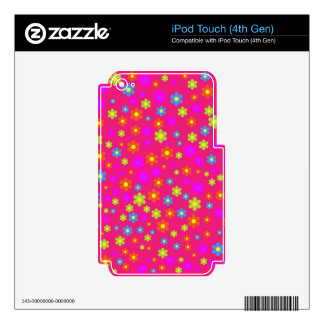Vintage girly pink green floral pattern iPod touch 4G decals