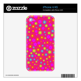 Vintage girly pink green floral pattern skin for the iPhone 4S