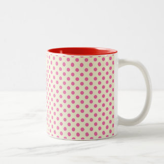 Vintage Girly Pink Polka Dots Two-Tone Coffee Mug