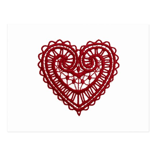 Vintage Girly  Red Lace Heart Postcard