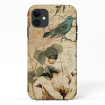 vintage girly rose scripts bird floral  fashion iPhone 11 case