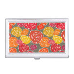 Vintage girly roses floral pattern business card holder
