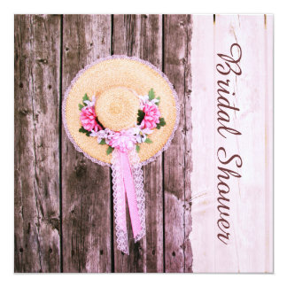 Vintage girly straw bonnet on rustic wood card