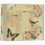 Vintage,girly,whimsical,cute,collage,shabby chic 3 ring binders