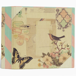 Vintage,girly,whimsical,cute,collage,shabby chic 3 ring binder