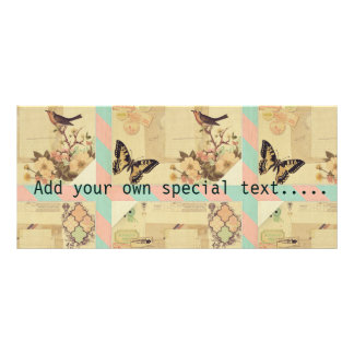 Vintage,girly,whimsical,cute,collage,shabby chic rack card