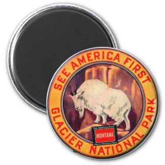 Vintage Glacier National Park See America First 2 Inch Round Magnet