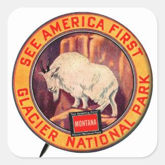 Vintage Glacier National Park See America First Square Sticker