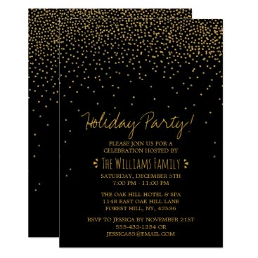 Professional Business Vintage Glam Black & Gold Holiday Party Card