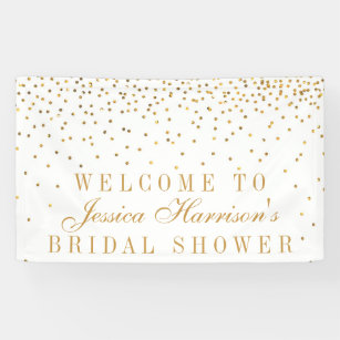 vintage glam gold confetti bridal shower banner