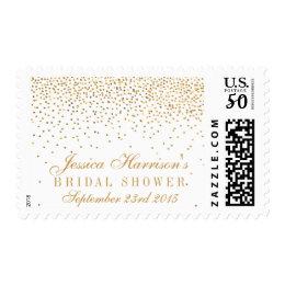 Vintage Glam Gold Confetti Bridal Shower Postage