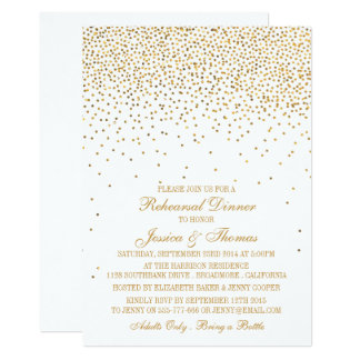 Vintage Glam Gold Confetti Rehearsal Dinner Card