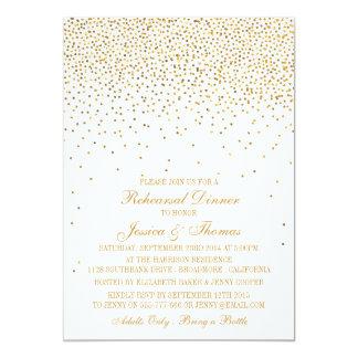 Vintage Glam Gold Confetti Rehearsal Dinner Card