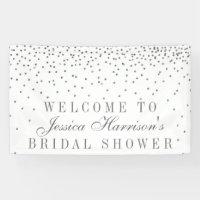 Vintage Glam Silver Confetti Bridal Shower Banner