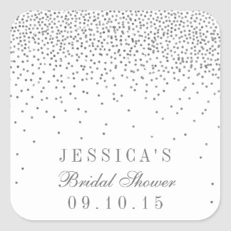 Vintage Glam Silver Confetti Bridal Shower Square Sticker