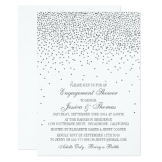 Vintage Glam Silver Confetti Engagement Shower Card