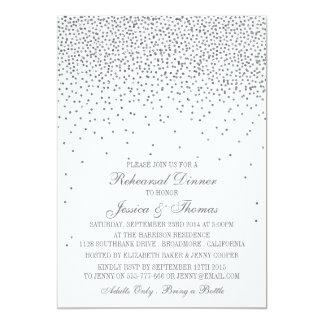 Vintage Glam Silver Confetti Rehearsal Dinner Card