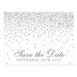 Vintage Glam Silver Confetti Save The Date Postcard