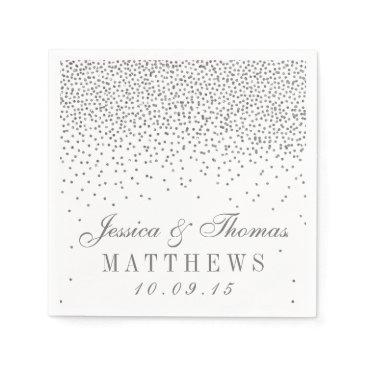 invitation_republic Vintage Glam Silver Confetti Wedding Collection Napkin