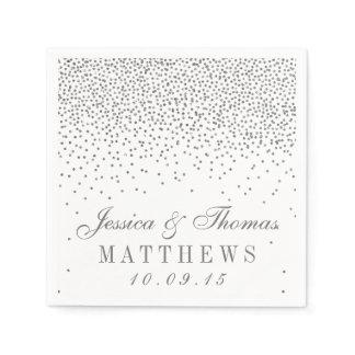 Vintage Glam Silver Confetti Wedding Collection Napkins
