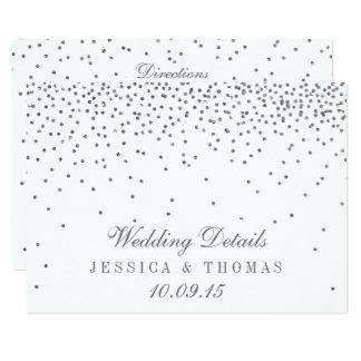 Vintage Glam Silver Confetti Wedding Detail Cards