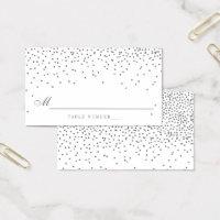 Vintage Glam Silver Confetti Wedding Escort Cards