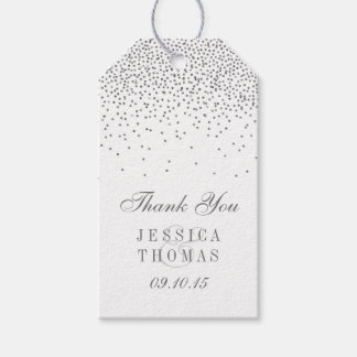 Wedding Gift Tags Ideas : Vintage Glam Silver Confetti Wedding Gift Tags