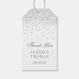 Vintage Glam Silver Confetti Wedding Gift Tags