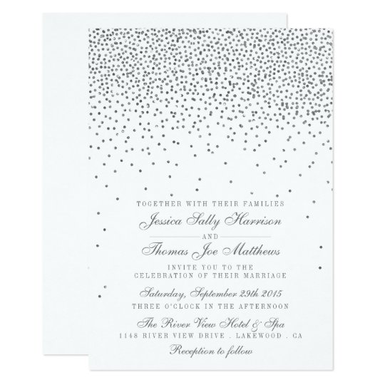 Vintage Glam Silver Confetti Wedding Invitations