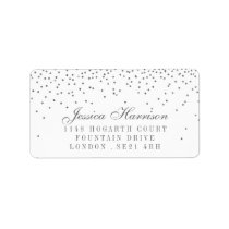 Vintage Glam Silver Confetti Wedding Labels