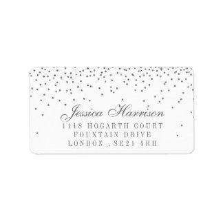 Vintage Glam Silver Confetti Wedding Labels