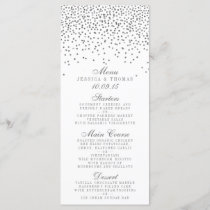Vintage Glam Silver Confetti Wedding Menu Cards