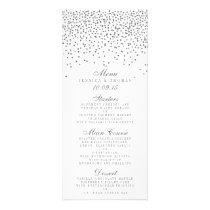 Vintage Glam Silver Confetti Wedding Menu Cards