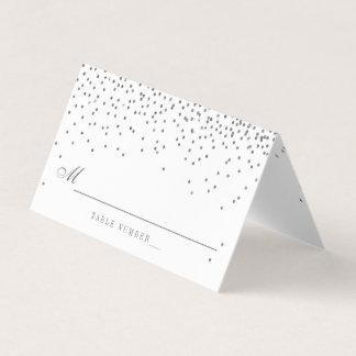 Vintage Glam Silver Confetti Wedding Place Card