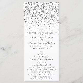Vintage Glam Silver Confetti Wedding Program Cards