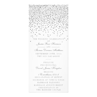 Vintage Glam Silver Confetti Wedding Program Cards