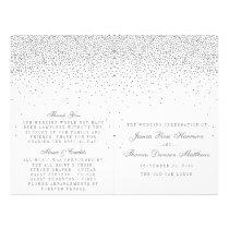 Vintage Glam Silver Confetti Wedding Programs