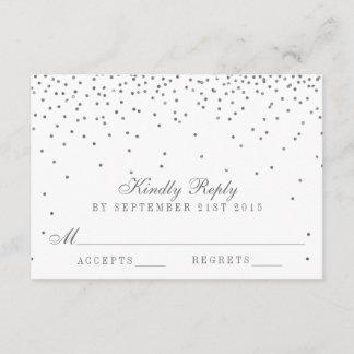 Vintage Glam Silver Confetti Wedding RSVP Cards