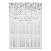 Vintage Glam Silver Confetti Wedding Seating Chart