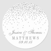Vintage Glam Silver Confetti Wedding Stickers