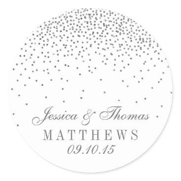 Invitation_Republic Vintage Glam Silver Confetti Wedding Stickers