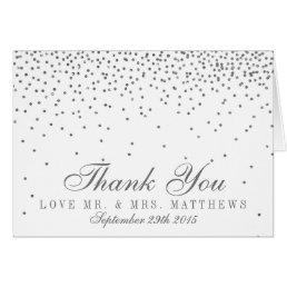 Vintage Glam Silver Confetti Wedding Thank You Card