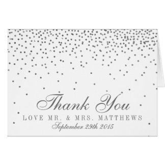 Vintage Glam Silver Confetti Wedding Thank You Card